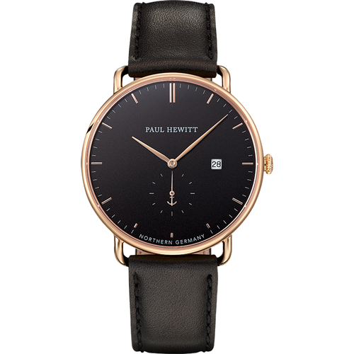 Montre Grand Atlantic Line Black Sea IP Doré Bracelet Cuir Noir - PAUL HEWITT - Shopsquare