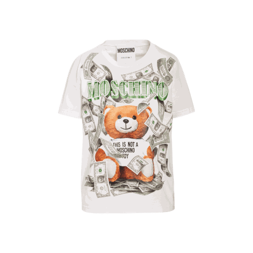 T-shirt En Jersey Avec Dollar Teddy Bear - Moschino - Shopsquare